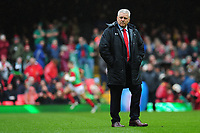 Pictured: Head Coach Warren Gatland of Wales during the Guinness six nations match between Wales and Ireland at the Principality Stadium, Cardiff, Wales, UK.<br /> Saturday 16 March 2019