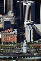 aerial photograph of the Ferry Building, One Market Street, the Hyatt Hotel and 100 California (US Bank), San Francisco, California
