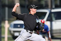 Toronto Blue Jays minor league pitcher Aaron Sanchez (30) vs. the Philadelphia Phillies in an Instructional League game at the Carpenter Complex in Clearwater, Florida;  October 9, 2010.  Sanchez was selected in the 1st round supplemental, 34th overall, out of Barstow High School in California.  Photo By Mike Janes/Four Seam Images