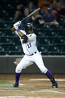 Micker Adolfo (27) of the Winston-Salem Dash at bat against the Down East Wood Ducks at BB&T Ballpark on May 12, 2018 in Winston-Salem, North Carolina. The Wood Ducks defeated the Dash 7-5. (Brian Westerholt/Four Seam Images)