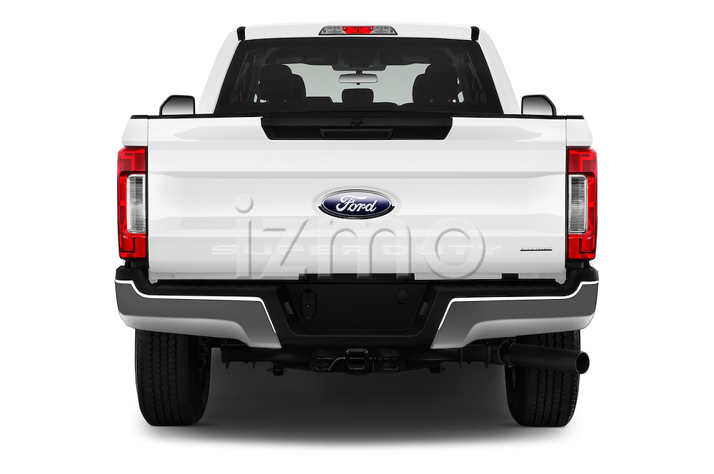 Straight rear view of 2017 Ford F-350 XLT-Super 4 Door Pick-up Rear View  stock images