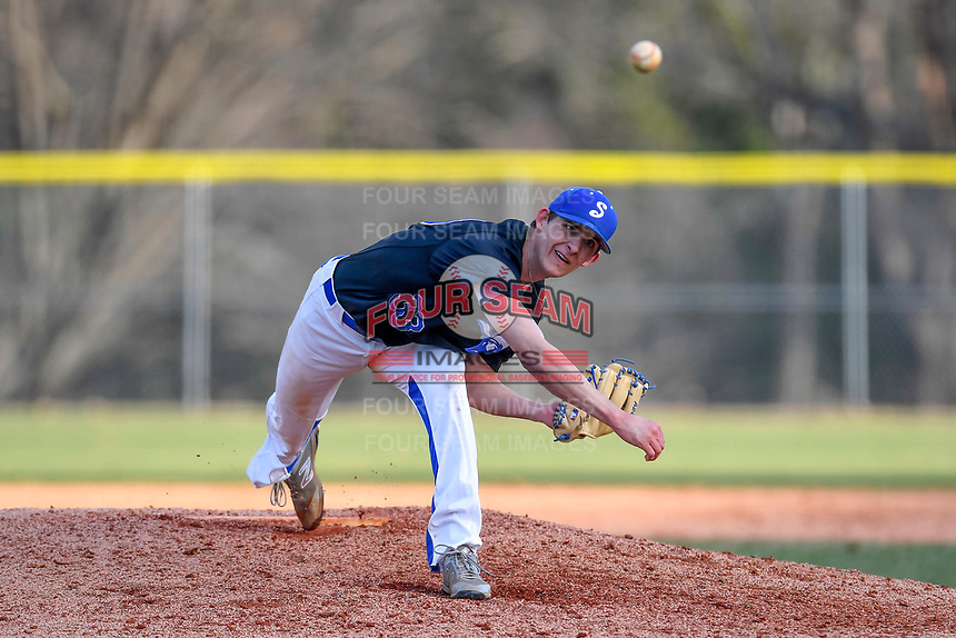 Pitcher Daniel Blair (33) of the Spartanburg Methodist College Pioneers delivers a pitch during Game 2 of a junior college season-opening doubleheader against the Patrick Henry Patriots on February 3, 2018, at Mooneyham Field in Spartanburg, South Carolina. (Tom Priddy/Four Seam Images)