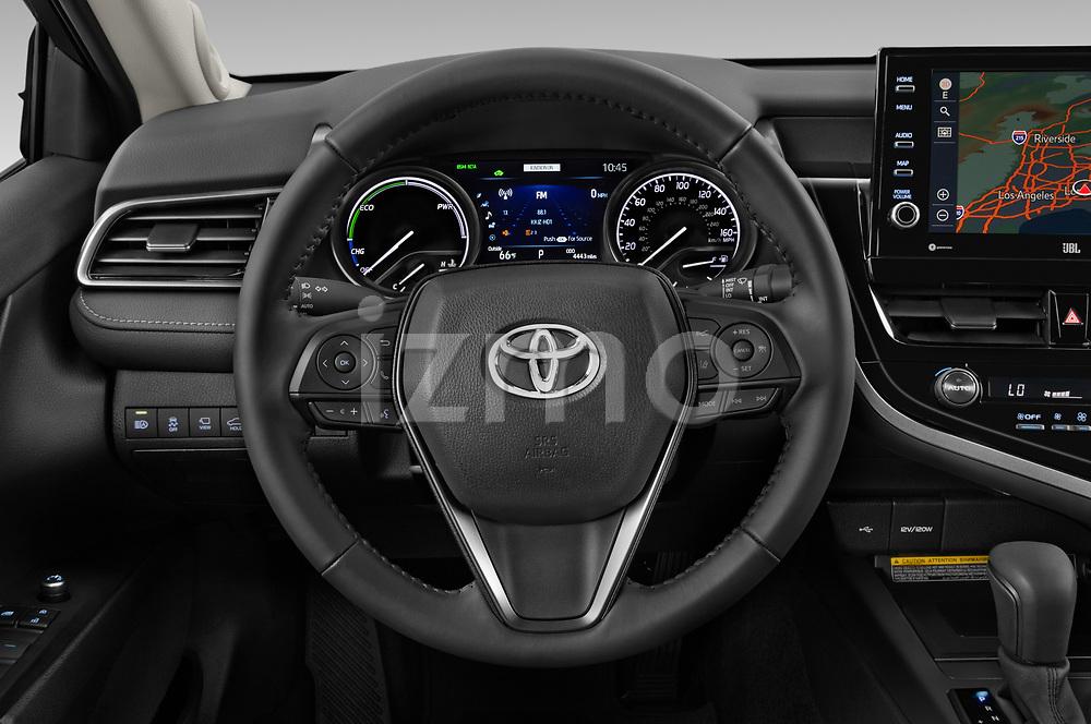 Car pictures of steering wheel view of a 2021 Toyota Camry-Hybrid XSE 4 Door Sedan Steering Wheel