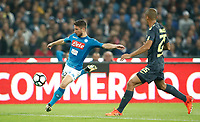 Calcio, Serie A: Napoli, stadio San Paolo, 21 ottobre 2017.<br /> Napoli's Dries Mertens (i) in action with Inter's Miranda (r) during the Italian Serie A football match between Napoli and Inter at Napoli's San Paolo stadium, October 21, 2017.<br /> UPDATE IMAGES PRESS/Isabella Bonotto