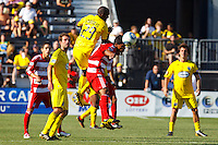 28 AUGUST 2010:  FC Dallas' David Ferreira (10) heads the ball during MLS soccer game between FC Dallas vs Columbus Crew at Crew Stadium in Columbus, Ohio on August 28, 2010.