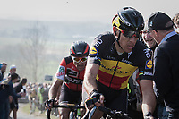Philippe Gilbert (BEL/Quick Step floors) topping the Paterberg first, followed closely by rival/former teammate Greg Van Avermaet (BEL/BMC)<br /> <br /> 60th E3 Harelbeke (1.UWT)<br /> 1day race: Harelbeke › Harelbeke - BEL (206km)