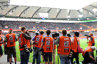 Sports photographers during the FIFA Women's World Cup at the FIFA Stadium in Wolfsburg, Germany on July 6thd, 2011.