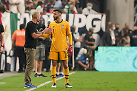 LAS VEGAS, NV - AUGUST 1: United States head coach Gregg Berhalter talks with Matt Turner #1 during a game between Mexico and USMNT at Allegiant Stadium on August 1, 2021 in Las Vegas, Nevada.