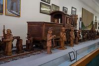 Hinton, West Virginia. Hinton Railroad Museum, Carvings of Railroad Workers and Locomotive.
