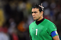 Essam El Hadary of Egypt sports a large plaster over a cut to his head. USA defeated Egypt 3-0 during the FIFA Confederations Cup at Royal Bafokeng Stadium in Rustenberg, South Africa on June 21, 2009.