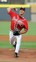 10 April 2008: RHP James Parr (24) of the Mississippi Braves, Class AA affiliate of the Atlanta Braves, in a game against the Mobile BayBears at Trustmark Park in Pearl, Miss. Photo by:  Tom Priddy/Four Seam Images