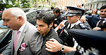 Pakistani cricketers arrive at the Pakistan High Commission in London today..Salman Butt, front, Mohammed Amir. behind....Picture by Gavin Rodgers/ Pixel 07917221968