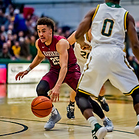 8 December 2018: Harvard University Crimson Guard Corey Johnson, a Senior from Ottawa, Ontario, in action against the University of Vermont Catamounts in Men's Basketball at Patrick Gymnasium in Burlington, Vermont. The America East Catamounts overcame a 10-point 2nd half deficit, to defeat the Ivy League Crimson 71-65 in NCAA Division I inter-league play. Mandatory Credit: Ed Wolfstein Photo *** RAW (NEF) Image File Available ***