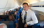 St Johnstone v FC Minsk...31.07.13<br /> St Johnstone Chairman Steve Brown on the flight over to Grodno in Belarus where saints will play FC Minsk on Thursday<br /> Picture by Graeme Hart.<br /> Copyright Perthshire Picture Agency<br /> Tel: 01738 623350  Mobile: 07990 594431
