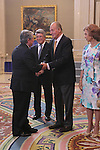 King Juan Carlos and Queen Sofia presided hearing to Atletico de Madrid C.F. at La Zarzuela Palace on september 17th 2012. Arturo Fernandez business man...Photo: POOL / Miguel Cordoba / ALFAQUI