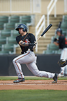 Cadyn Grenier (3) of the Delmarva Shorebirds follows through on his swing against the Kannapolis Intimidators at Kannapolis Intimidators Stadium on May 19, 2019 in Kannapolis, North Carolina. The Shorebirds defeated the Intimidators 9-3. (Brian Westerholt/Four Seam Images)