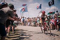 Jasper Stuyven (BEL/Trek-Segafredo) on pavé sector #4<br /> <br /> Stage 9: Arras Citadelle > Roubaix (154km)<br /> <br /> 105th Tour de France 2018<br /> ©kramon