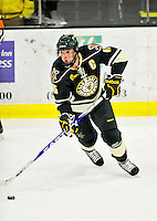 12 November 2010: University of Vermont Catamount defenseman Kevan Miller, a Senior from Los Angeles, CA, in action against the Boston College Eagles at Gutterson Fieldhouse in Burlington, Vermont. The Eagles edged out the Cats 3-2 in the first game of their weekend series. Mandatory Credit: Ed Wolfstein Photo