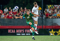 COLLEGE PARK, MD - SEPTEMBER 3: Maryland University forward Kyle Brown (17) and George Mason University forward Ryan Mahon (19) clash in the air during a game between George Mason University and University of Maryland at Ludwig Field on September 3, 2021 in College Park, Maryland.