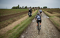 Floortje Mackaij (NED/DSM) restarting after a crash<br /> <br /> Inaugural Paris-Roubaix Femmes 2021 (1.WWT)<br /> One day race from Denain to Roubaix (FRA)(116.4km)<br /> <br /> ©kramon