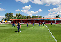 The Wycombe Wanderers players before the Sky Bet League 2 match between Crawley Town and Wycombe Wanderers at Broadfield Stadium, Crawley, England on 6 August 2016. Photo by Alan  Stanford / PRiME Media Images.