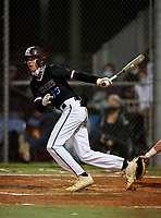 Riverview Rams Pip Smalley (13) bats during a game against the Sarasota Sailors on February 19, 2021 at Rams Baseball Complex in Sarasota, Florida. (Mike Janes/Four Seam Images)