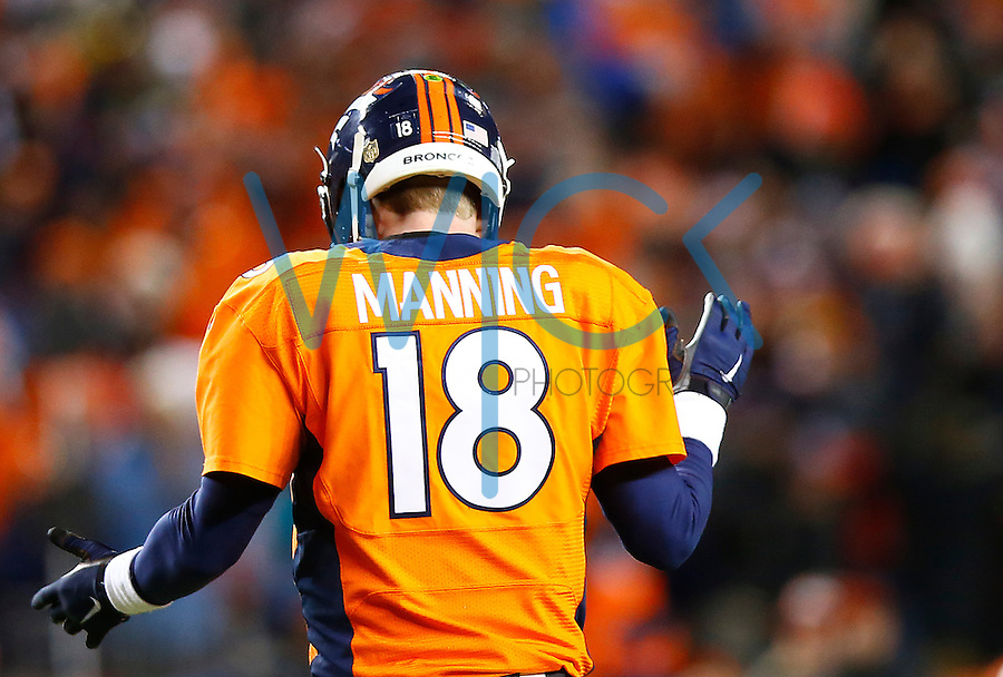 Peyton Manning #18 of the Denver Broncos reacts following a touchdown against the Pittsburgh Steelers during the AFC Divisional Round Playoff game at Sports Authority Field at Mile High on January 17, 2016 in Denver, Colorado. (Photo by Jared Wickerham/DKPittsburghSports)
