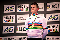 podium:<br /> <br /> Mathieu van der Poel (NED) with the well deserved rainbow jersey. <br /> <br /> Men's Elite race<br /> UCI 2020 Cyclocross World Championships<br /> Dübendorf / Switzerland<br /> <br /> ©kramon