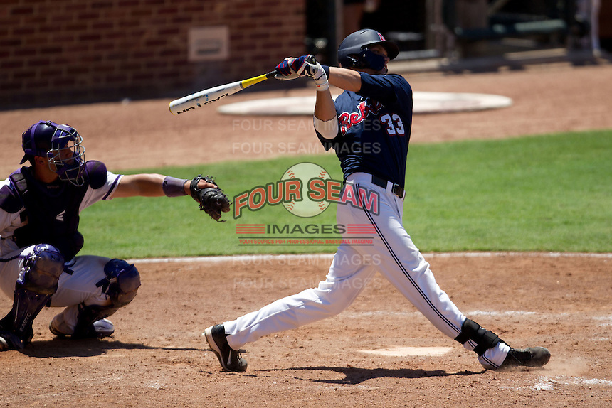 First baseman Matt Snyder #33 of the Ole Miss Rebels swings during the NCAA Regional baseball game against the Texas Christian University Horned Frogs on June 1, 2012 at Blue Bell Park in College Station, Texas. Ole Miss defeated TCU 6-2. (Andrew Woolley/Four Seam Images).