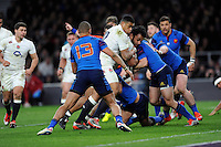 Billy Vunipola of England drives for the line with support from Luther Burrell of England