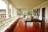 Porch at Augustus Saint-Gaudens house, Saint-Gaudens National Historic Site, Cornish, Sullivan County, New Hampshire, US