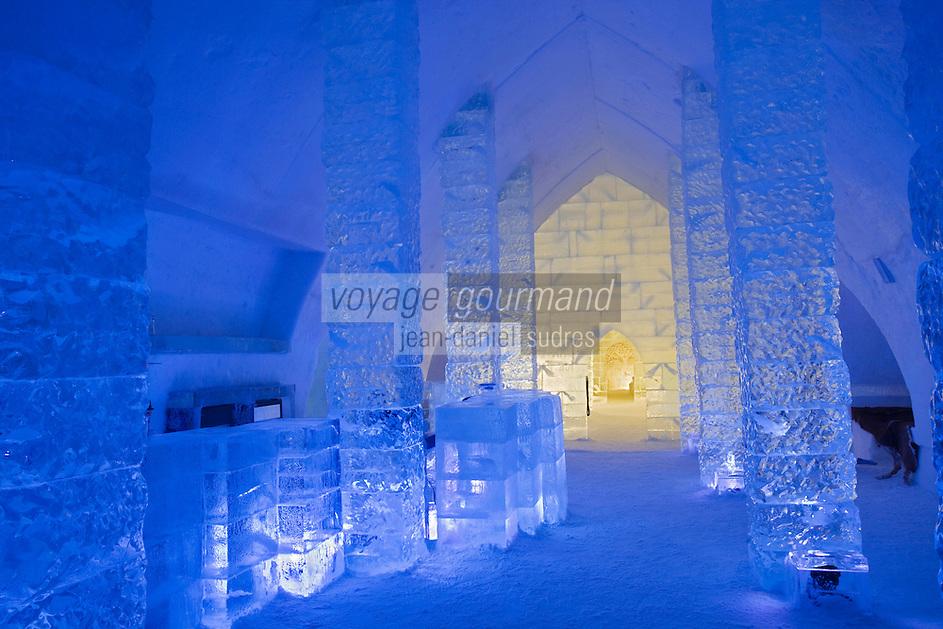 Amérique/Amérique du Nord/Canada/Québec/   Sainte-Catherine -de-la -Jacques-Cartier:  Ice Hôtel, Hôtel de Glace à la station touristique de Duschesnay prés du lac Saint-Joseph