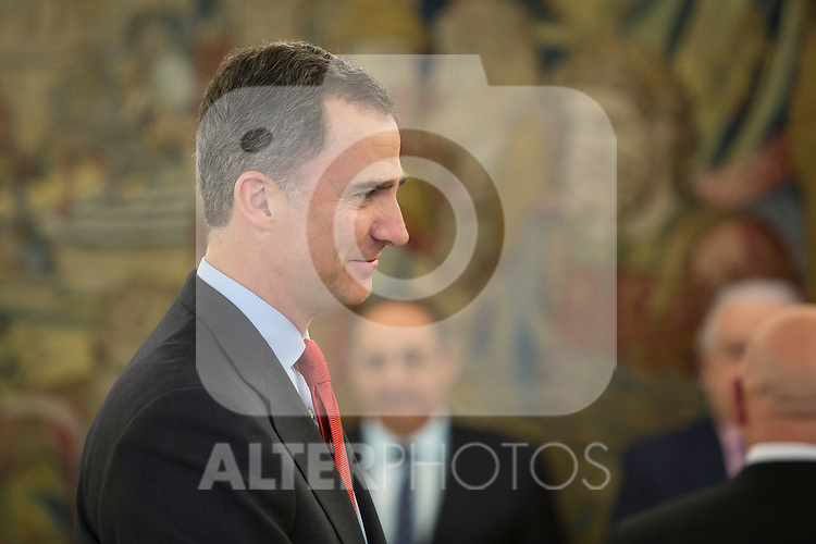 King Felipe VI of Spain during an official meeting at Zarzuela Palace in Madrid, Spain. February 17, 2016. (ALTERPHOTOS/Victor Blanco)