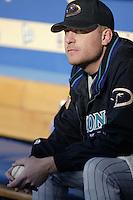 Curt Schilling of the Arizona Diamondbacks before a 2002 MLB season game against the Los Angeles Dodgers at Dodger Stadium, in Los Angeles, California. (Larry Goren/Four Seam Images)
