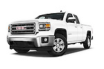Stock pictures of low aggressive front three quarter view of a 2015 GMC Sierra 1500 SLE 4 Door Pick-up Low Aggressive