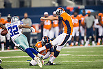Denver Broncos kicker Mitch Ewald (5) in action during the pre-season game between the Denver Broncos and the Dallas Cowboys at the AT & T stadium in Arlington, Texas. Denver leads Dallas 10 to 3 at halftime.