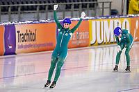 28th December 2020; Thialf Ice Stadium, Heerenveen, Netherlands; World Championship Speed Skating; Mass start ladies Irene Schouten L wins during the WKKT