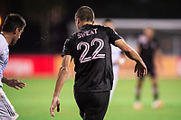LAKE BUENA VISTA, FL - JULY 14: Ben Sweat #22 of Inter Miami defends the ball during a game between Inter Miami CF and Philadelphia Union at Wide World of Sports on July 14, 2020 in Lake Buena Vista, Florida.