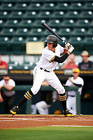 Bradenton Marauders shortstop Cole Tucker (3) at bat during a game against the Clearwater Threshers on April 18, 2017 at LECOM Park in Bradenton, Florida.  Clearwater defeated Bradenton 4-2.  (Mike Janes/Four Seam Images)