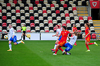 Helen Ward of Wales Women's scores the opening goal during the UEFA Women's EURO 2022 Qualifier match between Wales Women and Faroe Islands Women at Rodney Parade in Newport, Wales, UK. Thursday 22 October 2020