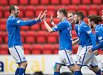 St Johnstone v Hibs...22.03.14    SPFL<br /> Steven MacLean celebrates his goal with Dave Mackay<br /> Picture by Graeme Hart.<br /> Copyright Perthshire Picture Agency<br /> Tel: 01738 623350  Mobile: 07990 594431