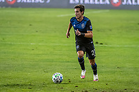 SAN JOSE, CA - OCTOBER 18: Carlos Fierro #21 of the San Jose Earthquakes dribbles the ball during a game between Seattle Sounders FC and San Jose Earthquakes at Earthquakes Stadium on October 18, 2020 in San Jose, California.