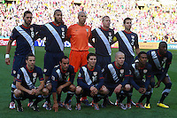 The USA Team line up before the game against Slovenia