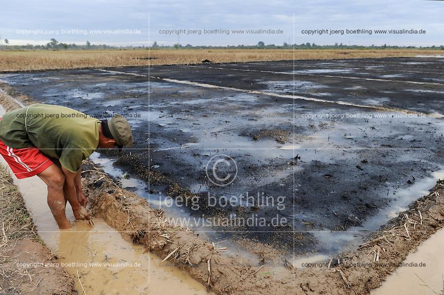 Laos, farmer cultivates paddy field, improvement of soil with compost and ash / Laos, Farmer bei Bodenbearbeitung, Verbesserung des Bodens mit Kompost und Asche