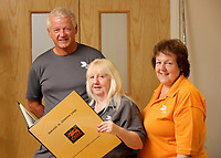 Pictured L-R: Graham Randall, Jillian Miggins and Margaret Jenkins. Thursday 10 August 2017<br />Re: DS Smith employees Margaret Jenkins, Jillian Miggins and Graham Randall are celebrating 120 years of service between the three of them at the company's Neath factory in south Wales.