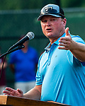 WATERBURY, CT 072427JS14  Former New York Yankee and Mets player Shane Spencer, was the guest speaker during Mickey Mantle World Series kick-off Tuesday at Municipal Stadium in Waterbury. After his speech, kids participated in the home run derby. <br /> Jim Shannon Republican American
