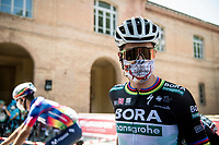 Peter Sagan (SVK/Bora-Hansgrohe) at the start (with his typical 'Why So Serious?') face mask<br /> <br /> 14th Strade Bianche 2020<br /> Siena > Siena: 184km (ITALY)<br /> <br /> delayed 2020 (summer!) edition because of the Covid19 pandemic > 1st post-Covid19 World Tour race after all races worldwide were cancelled in march 2020 by the UCI