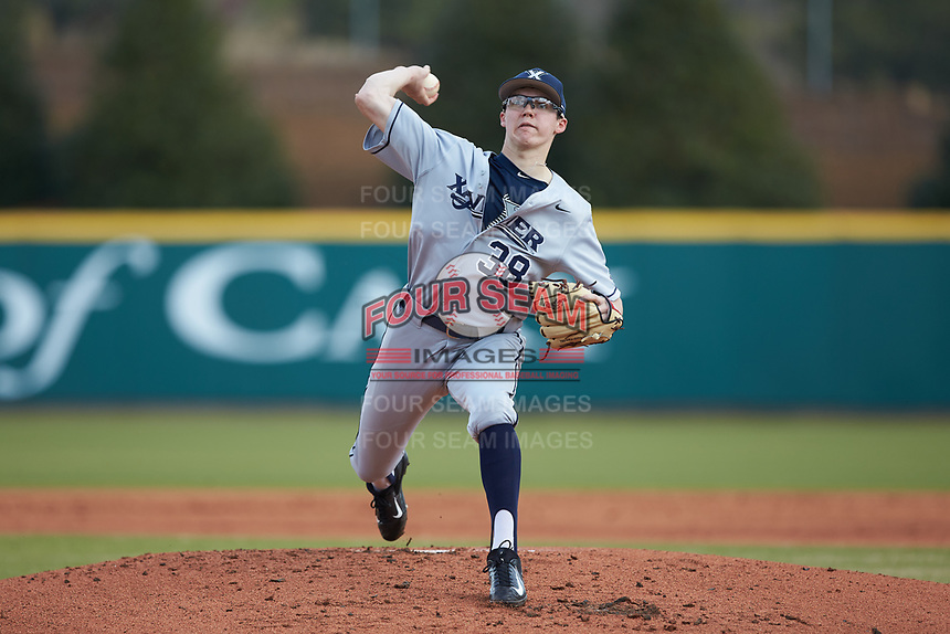Xavier Musketeers starting pitcher Garrett Schilling (38) in action against the Penn State Nittany Lions at Coleman Field at the USA Baseball National Training Center on February 25, 2017 in Cary, North Carolina. The Musketeers defeated the Nittany Lions 10-4 in game one of a double header. (Brian Westerholt/Four Seam Images)