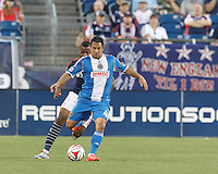 Foxborough, Massachusetts - June 28, 2014: First half action. In a Major League Soccer (MLS) match, the New England Revolution (dark blue/white) vs Philadelphia Union (blue/white), 0-1, at Gillette Stadium.