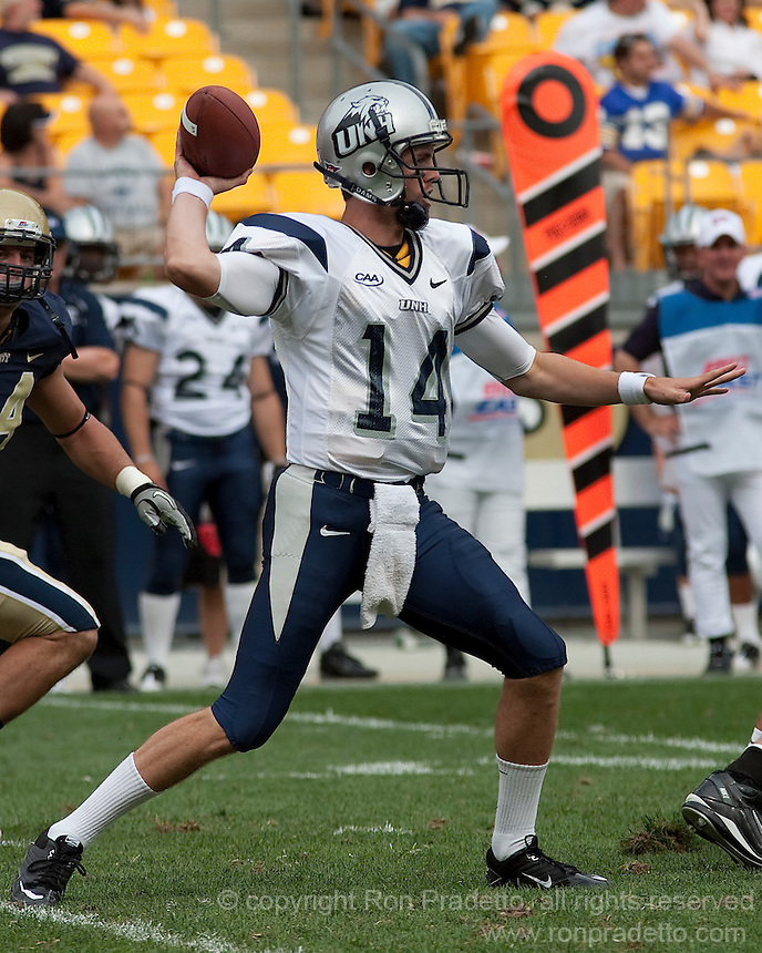 New Hampshire quarterback Kevin Decker passes downfield. The Pittsburgh Panthers defeat the New Hampshire Wildcats 38-16 at Heinz Field, Pittsburgh Pennsylvania on September 11, 2010.